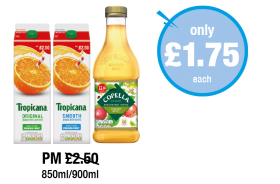 Tropicana Original, Smooth, Copella Apple Juice - Was PM £2.50 - Now only £1.75 each at Premier