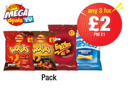 MEGA DEALS: Walkers Flamin Hot Wotsits, Sizzling Steak Wotsits, Frazzles, Chipsticks - PM £1 - Any 3 for £2 at Premier