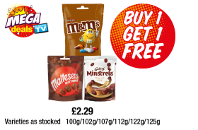 M&M's Chocolate, Maltesers Buttons, Galaxy Minstrels - Buy One Get 1 Free at Premier