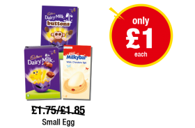 Cadbury Dairy Milk Buttons Easter Egg, Cadbury Dairy Milk Easter Egg, Milkybar White Chocolate Easter Egg - Was £1.75/£1.85 - Now only £1 each at Premier