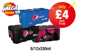 MEGA DEALS: Pepsi, Pepsi Max, Pepsi Max Cherry - Was £5.29 - Now only £4 each at Premier