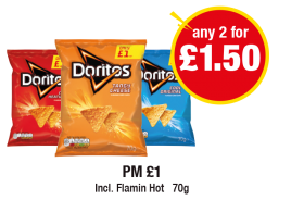 Doritos, Incl. Flamin Hot, PM £1 - Any 2 for £1.50 at Premier