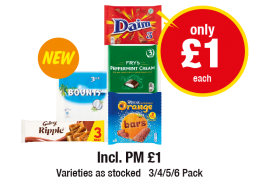 Galaxy Ripple, Bounty, Daim, Fry's Peppermint Cream, Terry's Chocolate Orange bars, Incl. PM £1 - Only £1 each at Premier