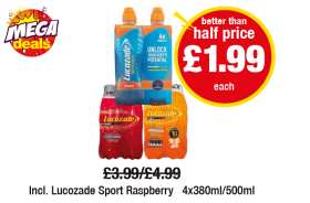 MEGA DEALS: Lucozade Sport Orange, Energy Original/Orange, Incl. Lucozade Sport Raspberry, was £3.99/£4.99 - Better than half price £1.99 each at Premier