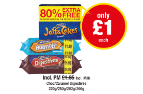 McVities Jaffa Cakes, Hobnobs, Digestives, Incl. Milk Choc/Caramel Digestives, Incl. PM was £1.65 - Nw only £1 each at Premier