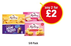 Mr Kipling Lemon Slices, Angel Slices, Mini Rolls, Vienesse Whirls - Any 2 for £2 at Premier