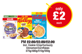 Nestle Cheerios, Kellogg's Coco Pops, Rice Krispies, Incl. Cookie Crisp/Curiously Cinnamon/Cornflakes, PM was £2.69/£2.89/£2.99 - Now only £2 each at Premier