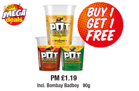 MEGA DEALS: Pot Noodle, Incl. Bombay Badboy,  PM £1.19 - Buy 1 Get 1 Free at Premier