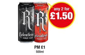 Relentless Origin, Cherry, PM £1- Any 2 for £1.50 at Premier
