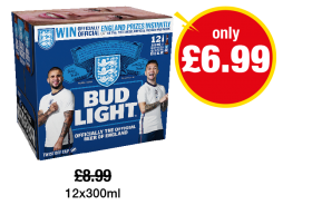 Bud Light - Was £8.99 - Now only £6.99 at Premier
