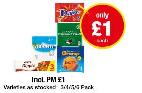 Daim, Fry's Peppermint Cream, Bounty, Galaxy Ripple, Terry's Chocolate Orange Bars - Now only £1 each at Premier
