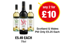 Hardy's VR Chardonnay, Shiraz, Pinot Grigio - £5.49 each or Any 2 for £10 at Premier