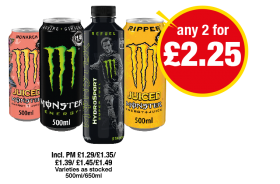 Monster Juiced Monarch, Energy, Hydrosport Super Fuel, Juiced Ripper - Any 2 for £2.25 at Premier