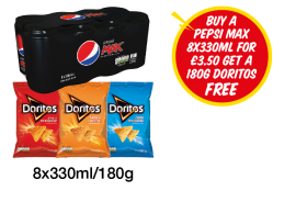 Pepsi Max, Doritos Chilli Heatwave, Tangy Cheese, Cool Original - Buy A Pepsi Max 8x330ml for £3.50, Get a 180g Doritos Free at Premier