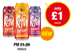 Rubicon Raw Energy Cherry & Pomegranate, Orange & Mango, Raspberry & Blueberry - Was PM £1.29 - Now only £1 each at Premier