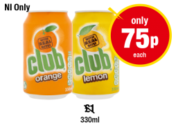 NORTHERN IRELAND ONLY: Club Orange, Lemon, Was £1 - Now Only 75p Each at Premier
