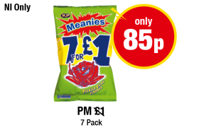 NORTHERN IRELAND ONLY: KP Meanies Pickled Onion Flavour - PM Was £1 - Now only 85p  at Premier
