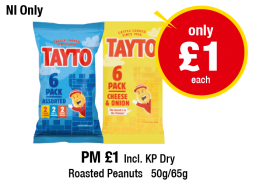 NORTHERN IRELAND ONLY: Tayto Assorted, Cheese & Onion - Was £2.99 - Now only £1 each at Premier
