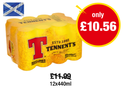 SCOTLAND ONLY: Tennent's - Was £11.99 - Now only £10.56 at Premier