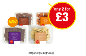 Discover the Choice Chocolate Cornflake Clusters, Flapjack bites, Chocolate Brownie Bites, Mini Shortbread Bites - Any 2 for £3 at Premier