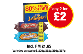 Jaffa cakes (80% Extra Free), McVities Digestives/Hobnobs,  Incl. PM £1.65 - Any 2 for £2 at Premier