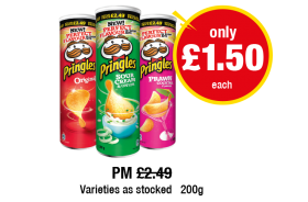 Pringles, PM Was £2.49 - Now only £1.50 each at Premier