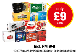 Strongbow, Carlsberg Pilsner, Magners Original, Fosters, Carling, Amstel Bier, Sol, Stella Artois, and more... Incl. PM , Was £10 - Now only £9 each at Premier