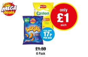 MEGA DEALS: Quavers, Wotsits Cheesy Multipack, Was £1.59 - Now only £1 each (Less that 17p per bag) at Premier