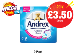 MEGA DEALS: Andrex Classic Clean White, Was £5.99 - NOW ONLY £3.50 at Premier