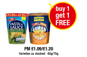 Batchelors Pasta 'n' Sauce Cheese & Broccoli, Chicken Super Noodles - PM £1.09/£1.20 - Buy One Get One Free at Premier
