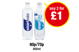 Glaceau Smart Water Still, Sparkling - 60p/70p - Any 2 for £1 at Premier