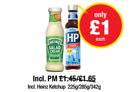 Heinz Salad Cream Glass, HP Sauce, Incl. Heinz Ketchup, Incl. PM Was £1.45/£1.65 - Now only £1 each at Premier