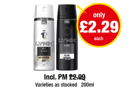 Lynx Gold, Black - Incl. PM Was £2.99, Now only £2.29 each at Premier