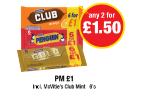 McVities Club Orange, Penguin, McVities Gold - PM £1 - Any 2 for £1.50 at Premier