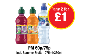 Robinsons Fruit Shoot Apple & Blackcurrant, Orange, Hydro Blackcurrant - PM 69p/79p - Any 2 for £1 at Premier