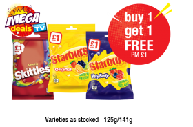 MEGA DEALS: Skittles Fruit Bag, Starburst Original, Very Berry PM £1 - Buy 1 Get 1 Free at Premier