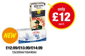 Corona Extra, Birra Moretti, Shipyard American Pale Ale - Now only £12 at Premier