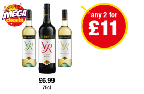 Hardys VR Chardonnay, Shiraz, Pinot Grigio - Any 2 for £11 at Premier
