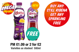 Ribena Blackcurrant, Sparkling Blackcurrant - PM £1.09 or 2 for £2 - Buy Any Still Ribena Get Any Sparkling Free at Premier