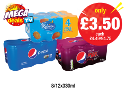 MEGA DEAL: Rubicon Mango 8+4, Pepsi Regular, Pepsi Max Regular/Cherry, Was £4.49/£4.75 - Now only £3.50 each at Premier