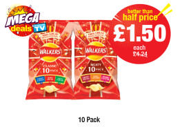 MEGA DEAL: Walkers Classic/Meaty, Was £4.24 - Better that Half Price £1.50 Each at Premier
