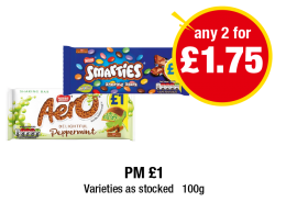 Aero Peppermint Bar, Smarties Sharing Block - PM £1 - Any 2 for £1.75 at Premier