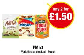 Aero Peppermint Bubbles, Milkybar Mix Ups, Rowntrees Fruit Gums - PM £1 - Any 2 for £1.50 at Premier