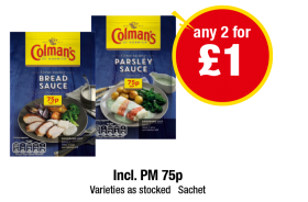 Colman's Bread Sauce, Parsley Sauce - Incl. PM 75p - Any 2 for £1 at Premier
