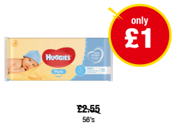Huggies Pure Baby Wipes - Was £2.55 - Now only £1 at Premier
