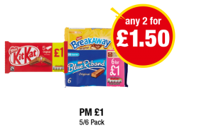 KitKat, Breakaway, Blue Riband - PM £1 - Any 2 for £1.50 at Premier
