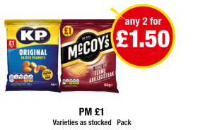KP Original Salted Peanuts, McCoy's Flame Grilled Steak - PM £1 - Any 2 for £1.50 at Premier