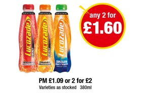 Lucozade Energy Original, Orange, Brazilian - PM £1.09 or 2 for £2 - Any 2 for £1.60 at Premier