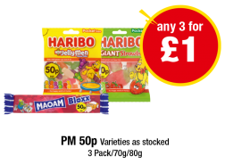 Maoam Bloxx, Haribo Little Jelly Men, Haribo Giant Strawbs - PM 50p - Any 3 for £1 at Premier
