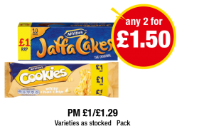McVitie's Jaffa Cakes, Mcvitie's Cookies White Choc Chip - PM £1/£1.29 - Any 2 for £1.50 at Premier